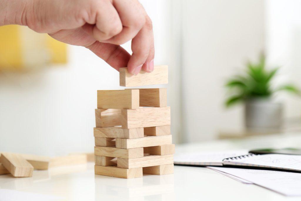 photo des blocs en bois taille instagram